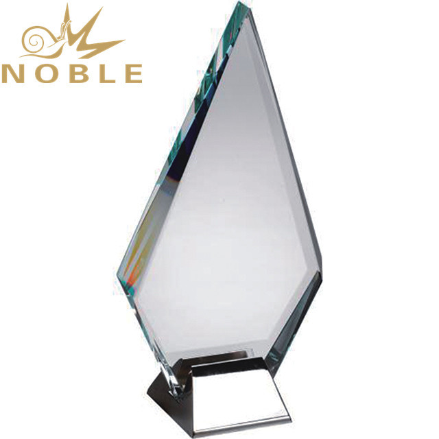 Jade glass plaque with metal base