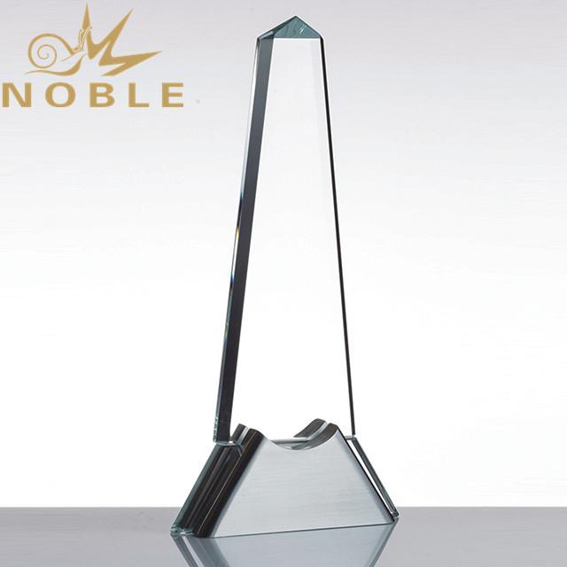 Custom crystal obelisk award with metal base