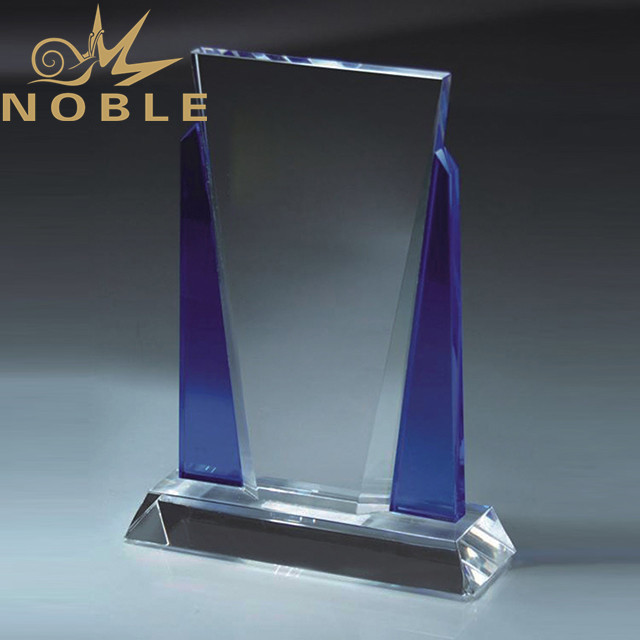 Hot selling custom crystal plaque award with blue crystal edge