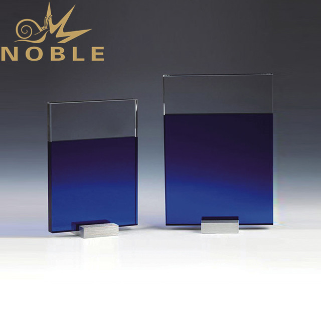 Blue crystal plaque with metal base