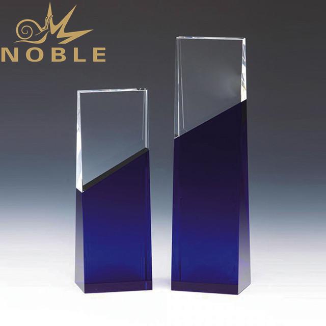 Custom engraving trophy blue crystal wedge