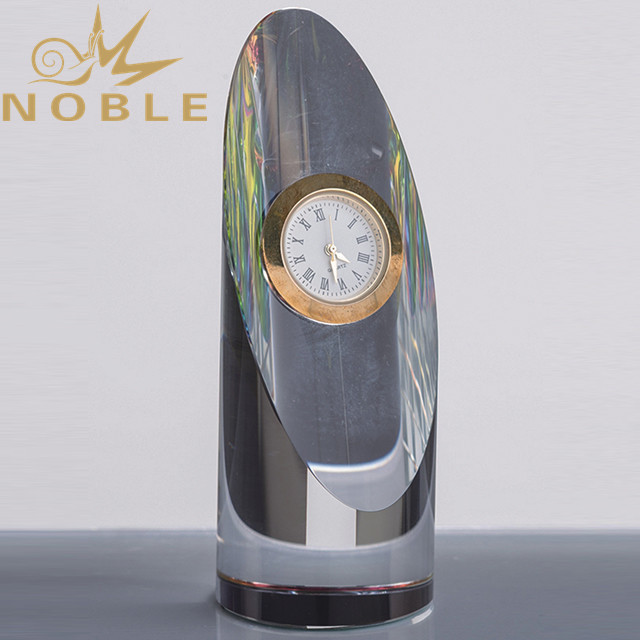 Noble high quality custom crystal column clock award