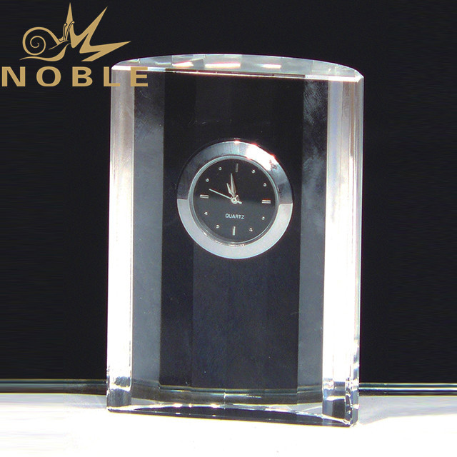 Free engraving Crystal clock as business gift