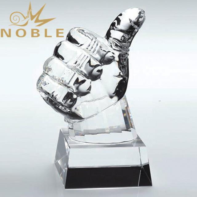 Noble Custom engraving Crystal hand award outstanding crystal teamwork trophy