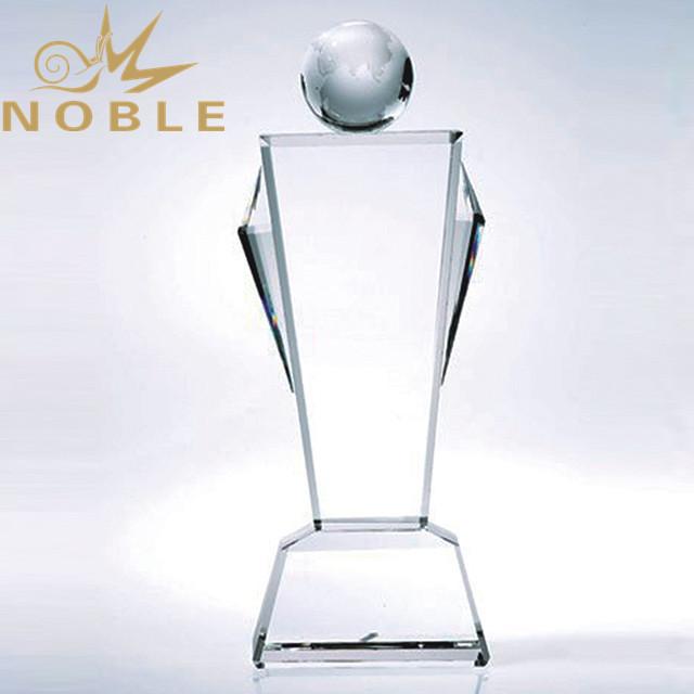 New design free engraving crystal globe trophy