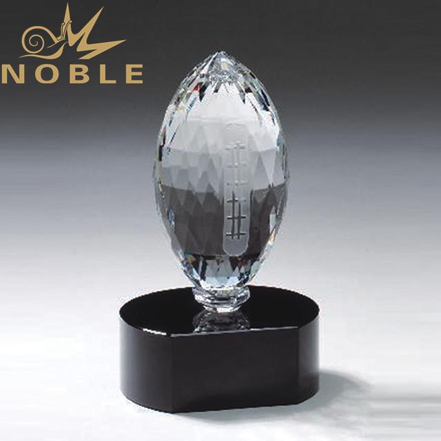 Diamond cutting custom crystal football award
