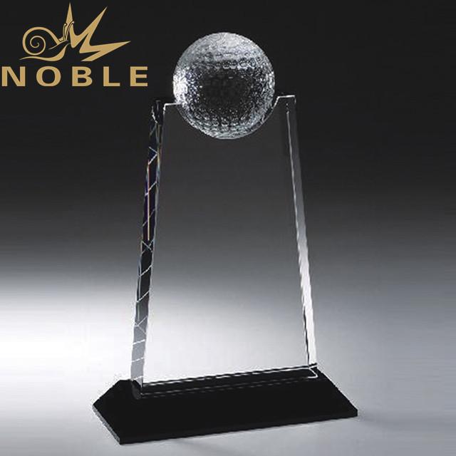 Noble custom design crystal golf trophy