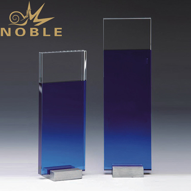 High quality blue crystal plaque with metal base