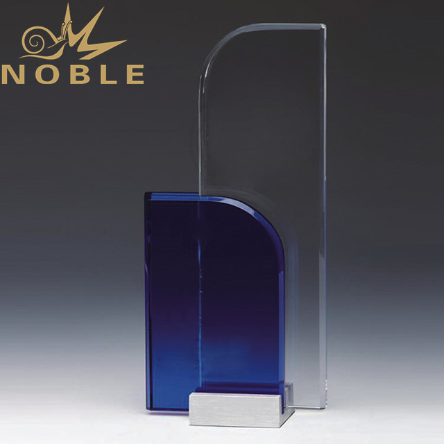 Blue crystal plaque with free engraving