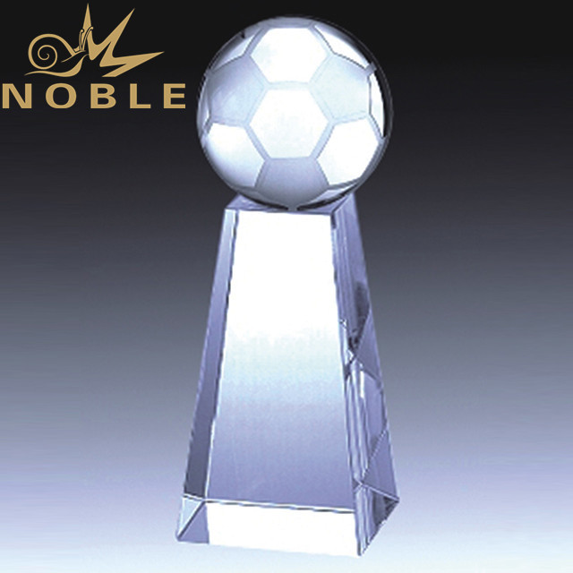 Customized sports crystal soccer trophy