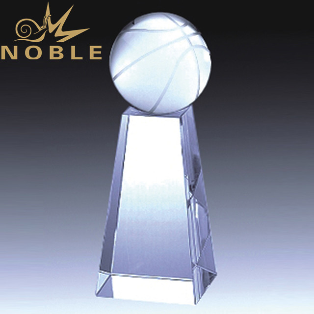 Crystal basketball trophy with custom engraving