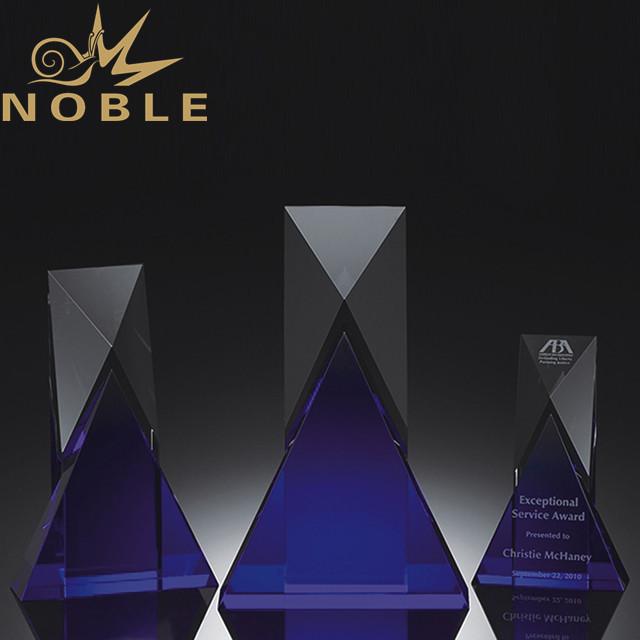 Custom made crystal corporate trophy