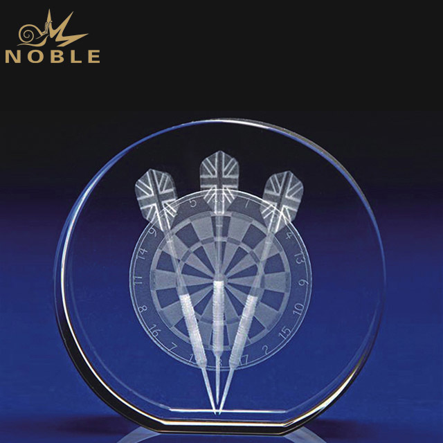 2019 Noble Custom High Grade 3D Laser Crystal Carved Glass Round Shape Trophies And Awards