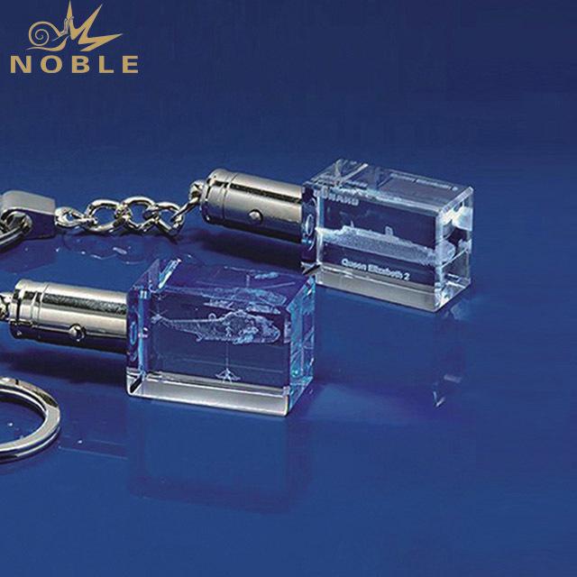 2019 Noble Custom High Quality 3D Laser Engraving K9 Crystal Glass key Chain