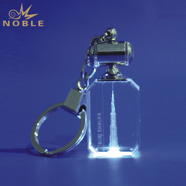 New Style Crystal 3d Laser Engraved Key Chain For Souvenir