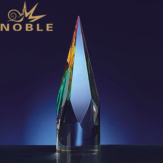 High quality custom crystal trophy award with colorful printing