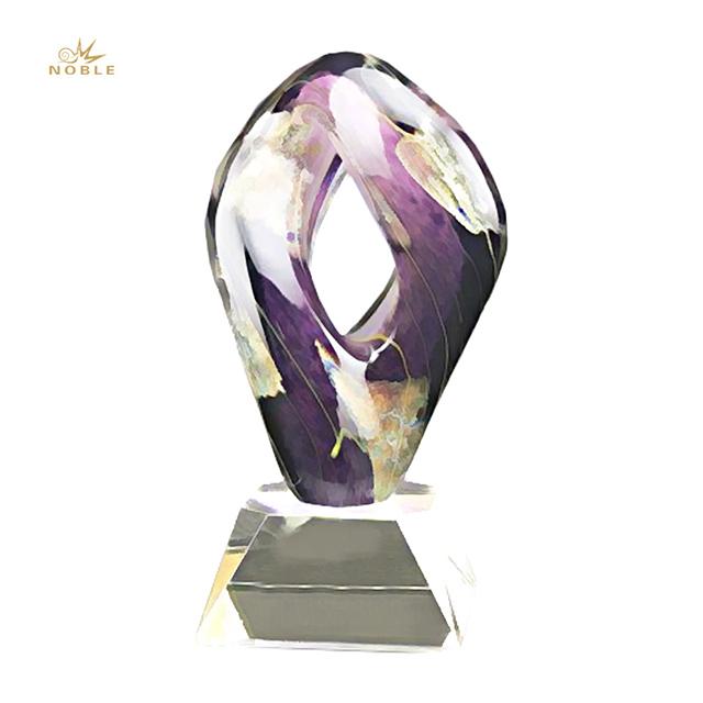2019 Noble Wholesale Personalized Art Glass Trophies for Souvenir