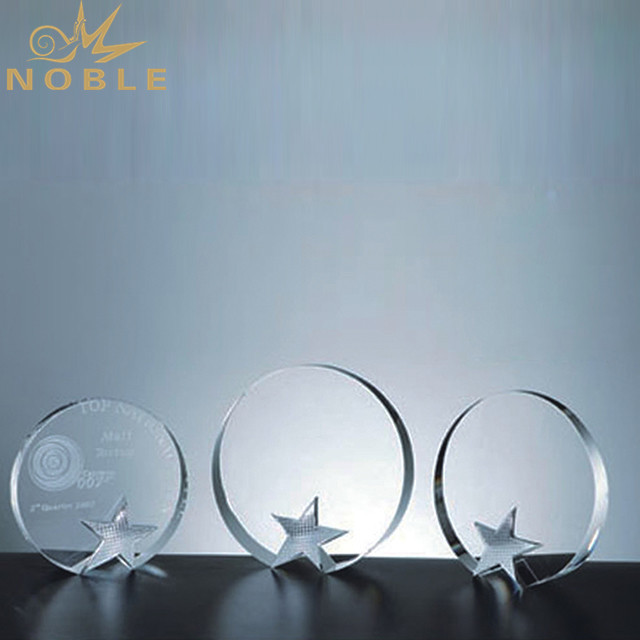 Unique Engraving Round K9 Crystal Trophy With Metal Star For Corporate Awards Gift
