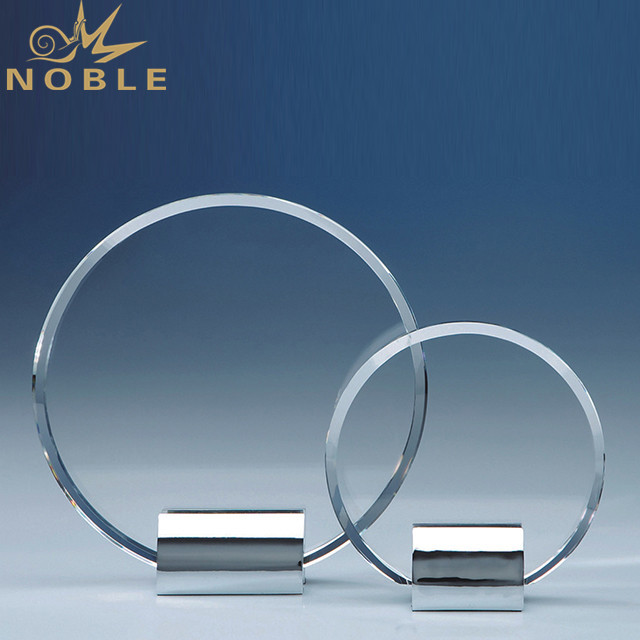 Round Crystal Plaque Award Trophy With Metal Round Base
