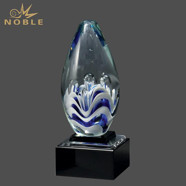 Custom Craft Hand Blown Dancing Art Glass Award Trophy