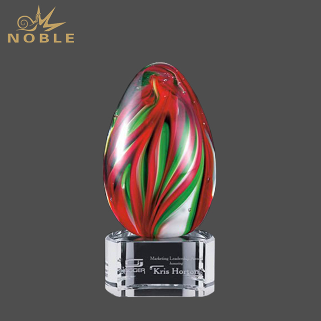 Color Blown Art Glass Trophy