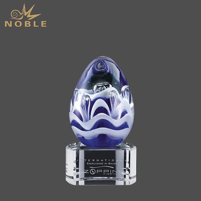 New Design Hand Blown Glass Art Blue Color Wave Vase Trophy