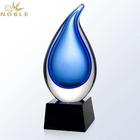 Colorful Art Glass Water Drop Trophy
