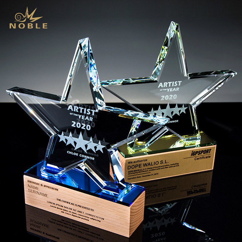 Star Crystal Trophy on Wooden Base