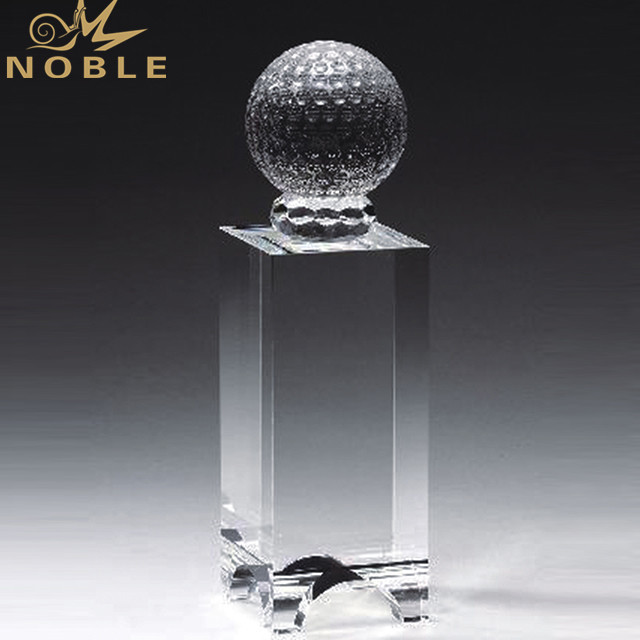 Customized Clear Golf Ball Crystal Trophy Award