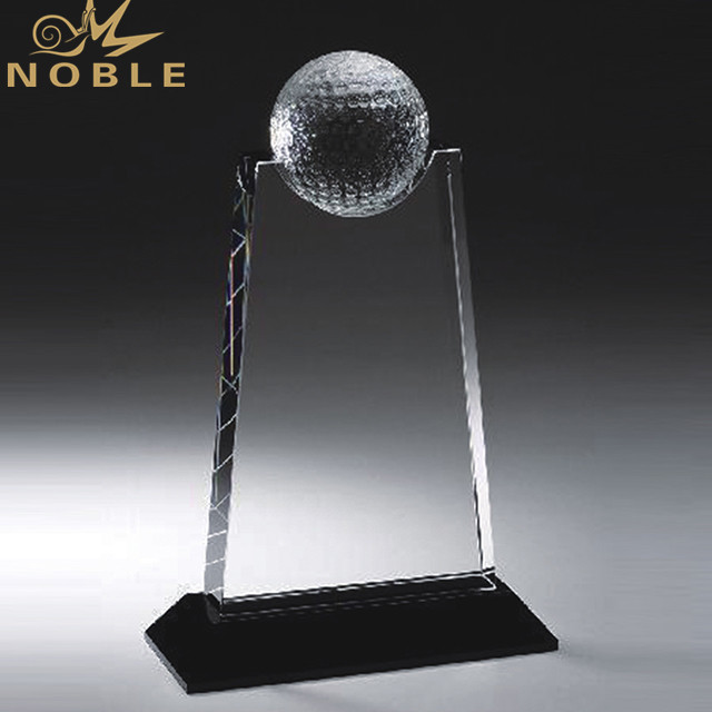Wholesale High Quality Shiny Clear Golf Ball Sports Crystal Trophy Awards With Black Base