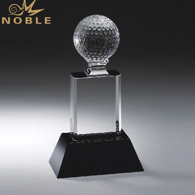 Personalized Golf Crystal Trophy Award With Black Base For Golf Club Tournament