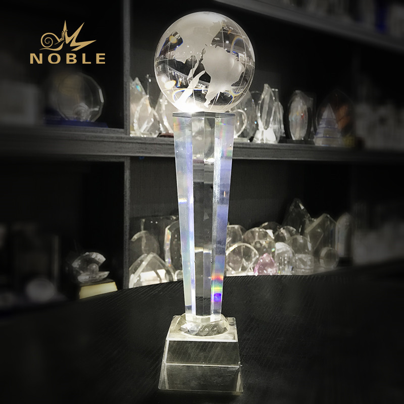 20th anniversary gift Golbe Crystal Trophy