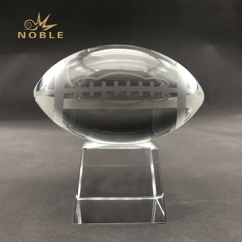 American Football Crystal Trophy Custom Engraved Logo