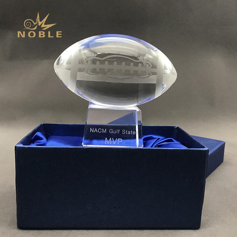 American Football Crystal Trophy Custom Engraved Logo