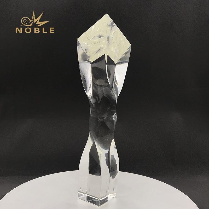 Custom Weave Crystal Trophy Awards Laser Logo