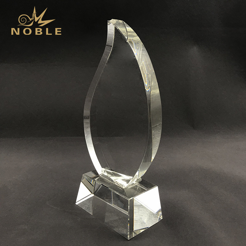 Royal Water Drop Shape Crystal Trophy with Clear Base Customized Logo Text