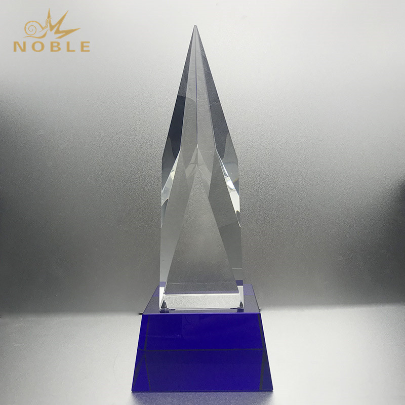 Clear Crystal Glass Diamond Peak Award Plaque with Blue Base