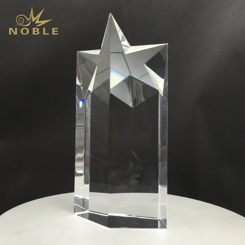 Clear Optical Crystal Star Trophy Awards Column Award