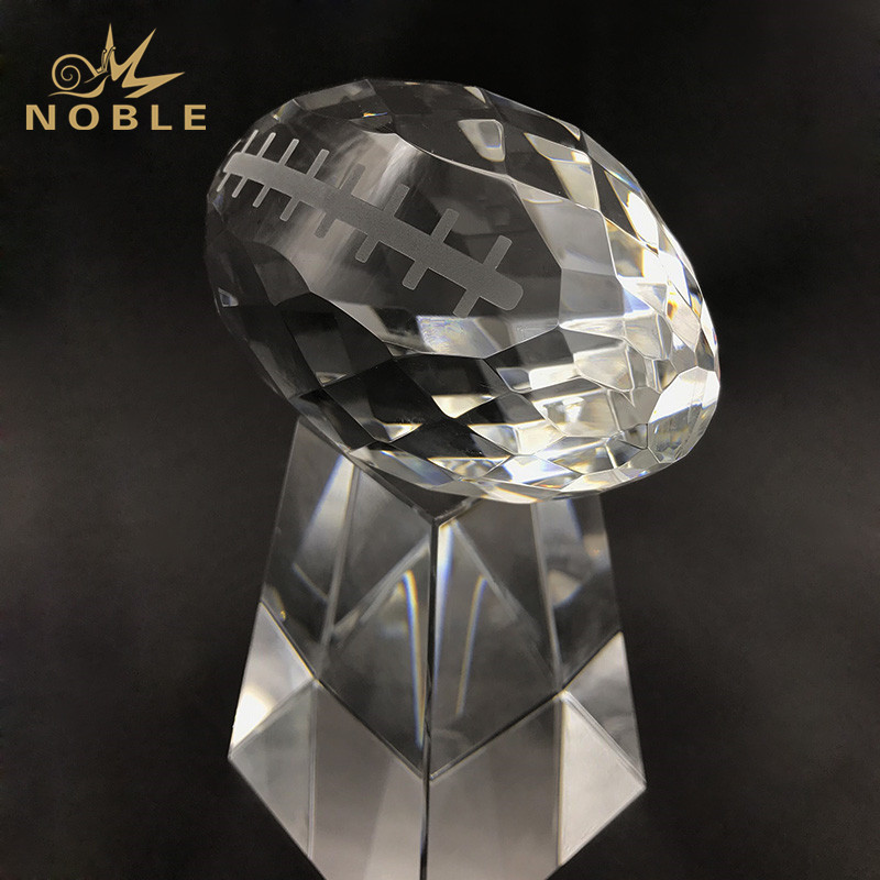 Faceted Clear Crystal Football Award For Sport Winner Prize
