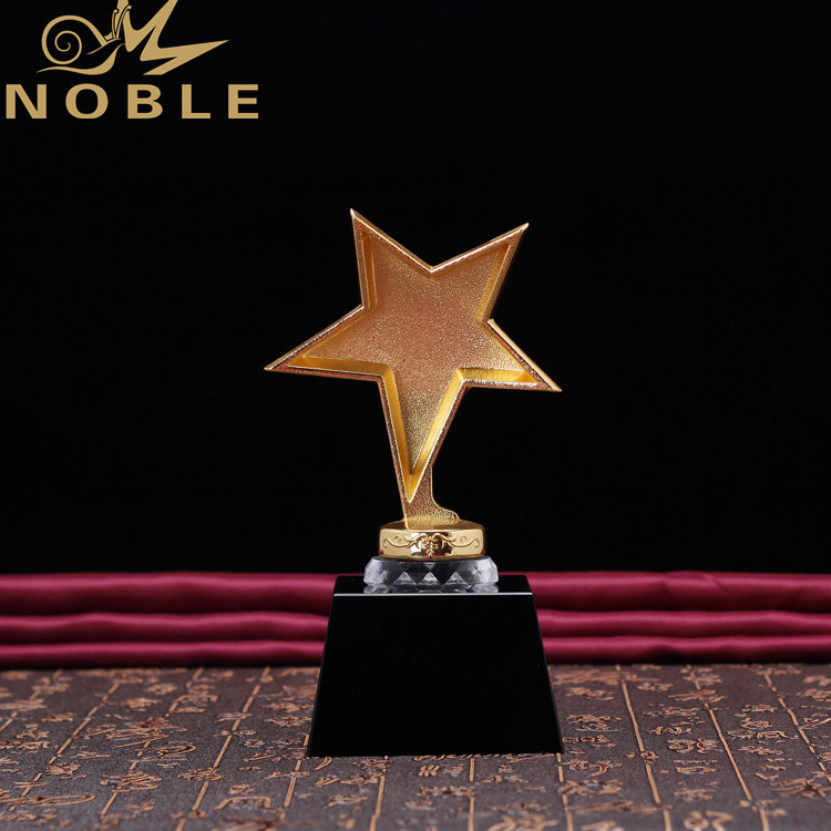 Gold Metal Star Trophy Crystal Award For President Souvenir