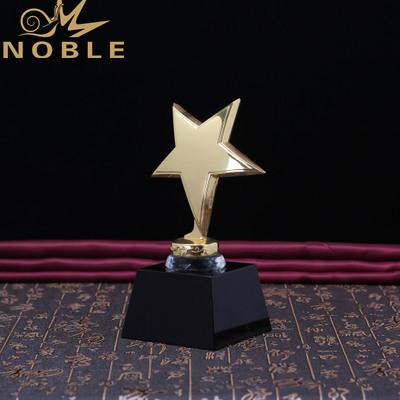 Gold Metal Star Trophy Crystal Award For President Souvenir
