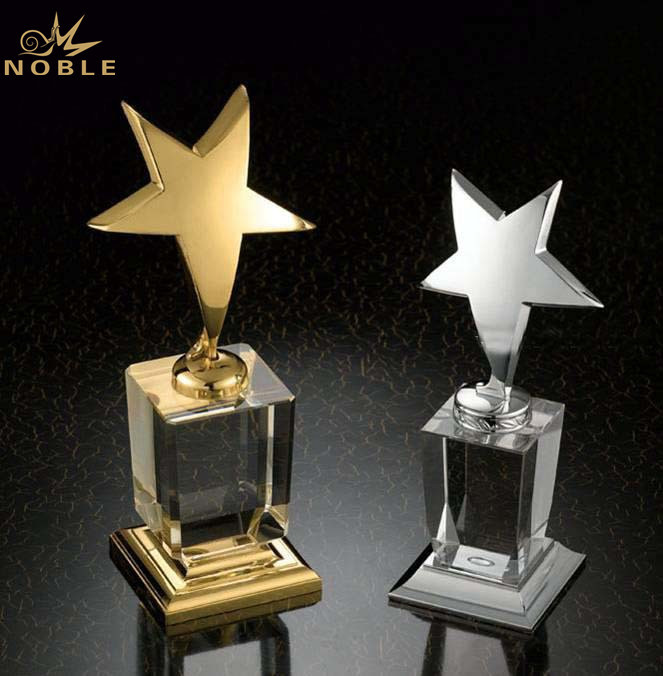 Cheap Blank Crystal Base Gold Metal Star Trophy Award Wholesale