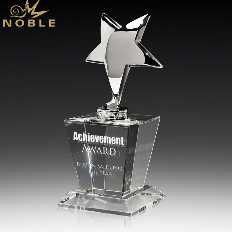Silver Metal Star Trophy Crystal Award For President Souvenir