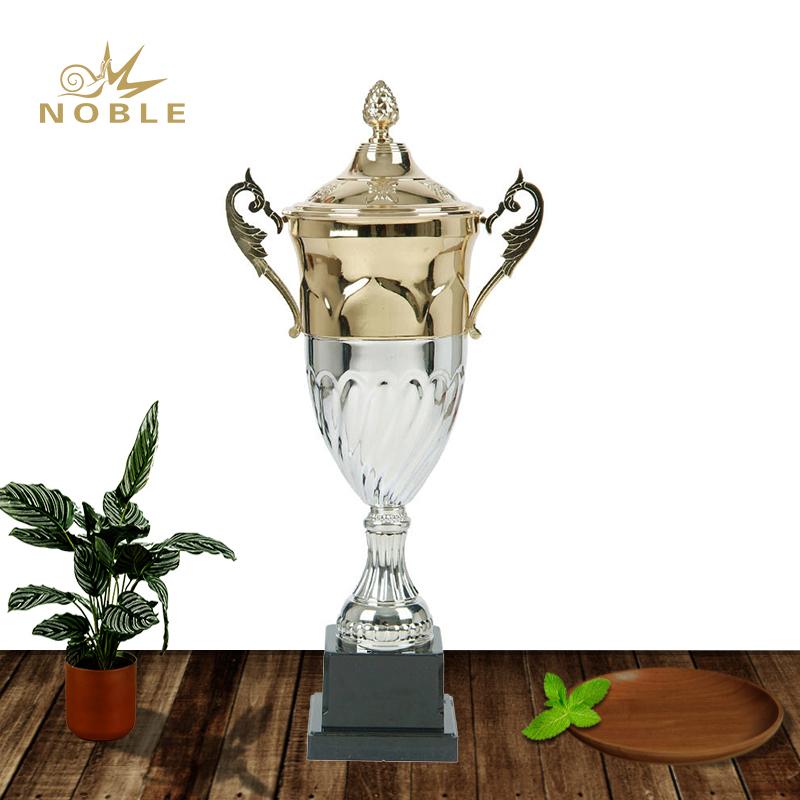 Half Gold Half Silver Football Metal Award Trophy Parts Metal Custom