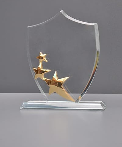 Clear Crystal Star Trophy With Engraving Glass Star Awards