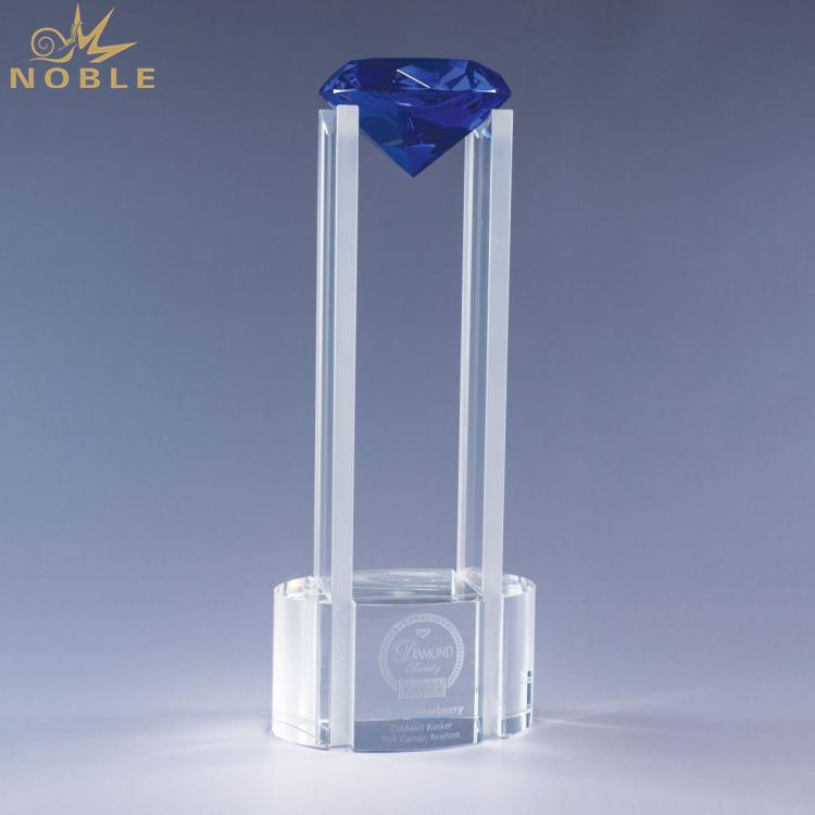 Custom K9 Blue Diamond Clear Crystal Trophy
