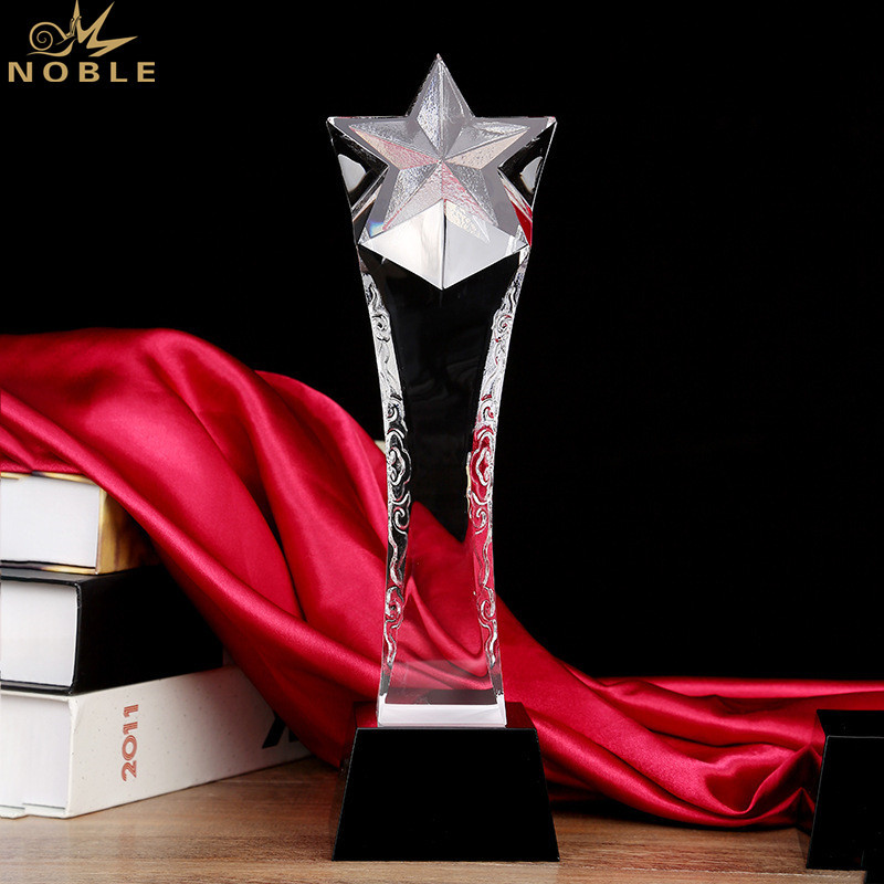 Blank Star Shape Crystal Trophy Award Plaque for Engraving