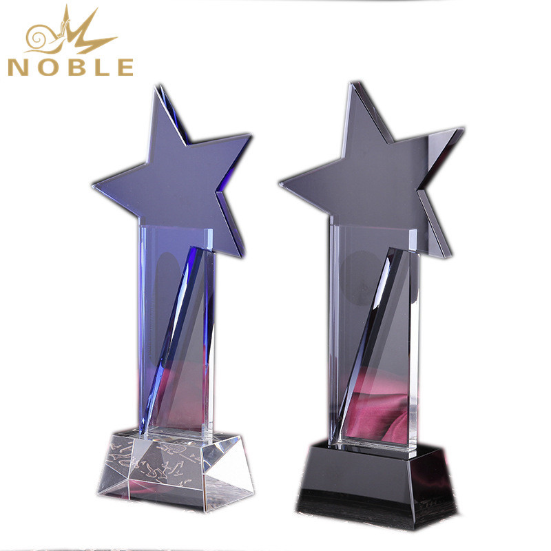 High Quality Clear Crystal Sports Trophy And Star Award