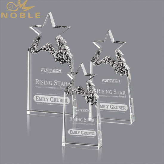 Customized Logo Text Engraved Star Shape Crystal Trophy
