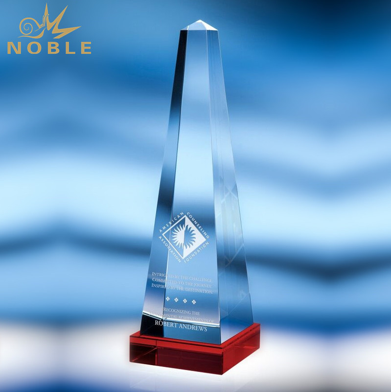 Crystal Trophy with Customized Engraved for Corporate Business Awards